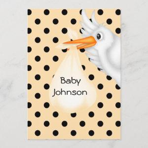 Nuetral Personalized Stork Baby Shower  Invitation