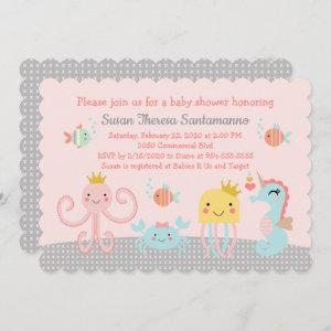 Ocean Mist Sea Life/Girl Baby Shower Invitation