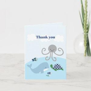 Oceana Blue Whale Baby Shower Thank You Card