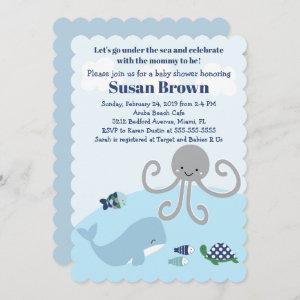 Oceana Blue Whale Octopus Baby Shower Invitation