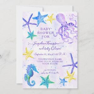 Octopus Seahorse Starfish Beach Purple Baby Shower