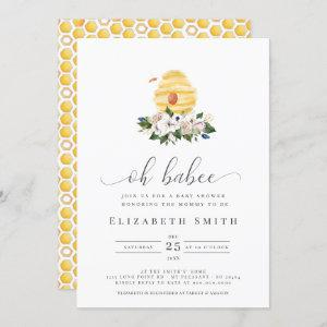 Oh Babee Watercolor Bee Yellow Floral Baby Shower