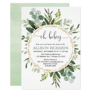 Oh babies twins gender neutral greenery eucalyptus invitation