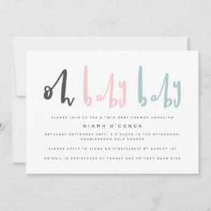 Oh baby baby twin baby shower invitation