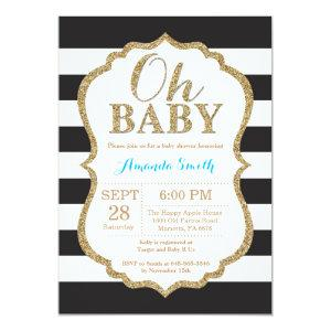 Oh Baby Black and Gold Baby Shower Invitation