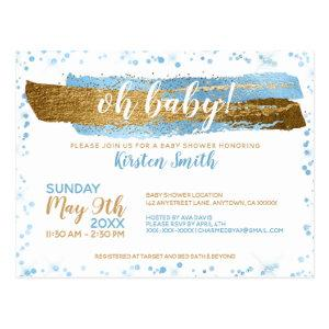 Oh Baby Blue & Gold Boy Baby Shower Invitations