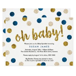 Oh Baby Blue & Gold Glitter Baby Sprinkle Invitation