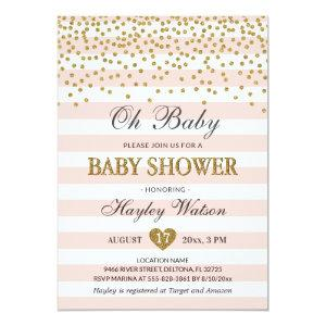 Oh Baby Blush Pink Gold Confettti Baby Girl Shower Invitation
