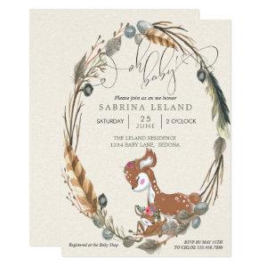 Oh Baby Botanical Deer and Fawn Baby Shower Invitation