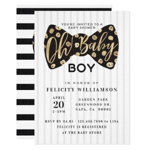 Oh Baby Boy Black & Gold Bow Tie Baby Shower Card
