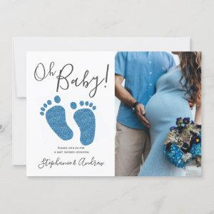 Oh Baby Boy Couples Photo Blue Baby Shower