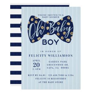 Oh Baby Boy Navy Bow Tie Baby Shower Invitation
