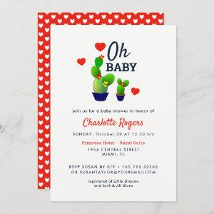 Oh Baby Cute Cactus Baby Shower Invitation
