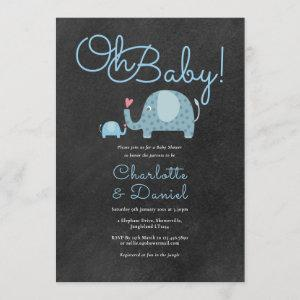 Oh Baby Cute Elephants Couples Baby Shower Invitation