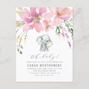 Oh Baby Elegant Pink Floral Elephant Baby Shower Invitation Postcard