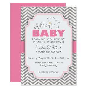Oh Baby Elephant - Pink & Gray Baby Shower Invite