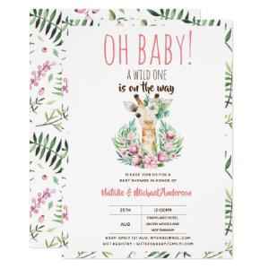 Oh Baby Giraffe A Wild One Safari Animal Floral Invitation