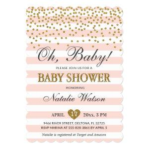 Oh Baby Girl Pink Gold Baby Shower Invitation