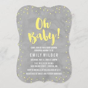 Oh Baby Gray and Yellow Watercolor Baby Shower Invitation