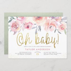 Oh Baby Greenery Blush Pink Roses Girl Baby Shower Invitation