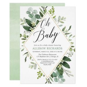 Oh baby Greenery gold gender neutral baby shower Invitation