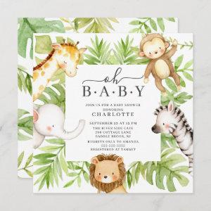 Oh Baby Jungle Baby Shower  Invitation