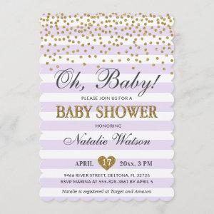 Oh Baby Lavender Purple and Gold Girl Baby Shower Invitation