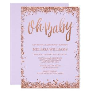 Oh Baby Lilac Faux Rose Gold Glitter Baby Shower Invitation