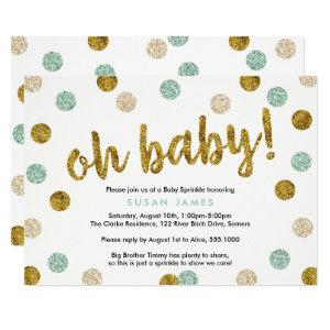 Oh Baby Mint Green & Gold Glitter Baby Sprinkle Invitation