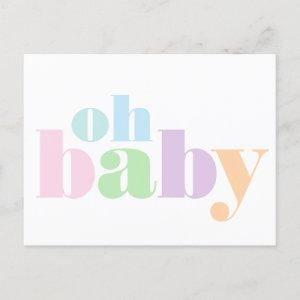 Oh Baby Modern Typography Virtual Baby Girl Shower Invitation Postcard