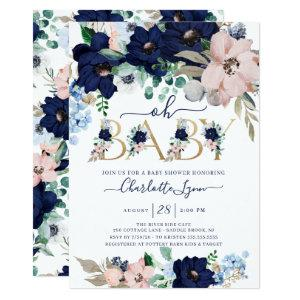 Oh Baby Navy Blue & Blush Floral Baby Shower Invitation