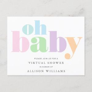 Oh Baby Pastel Typography Virtual Baby Shower Invitation Postcard
