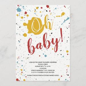 Oh Baby Primary Paint Splatter Neutral Baby Shower Invitation