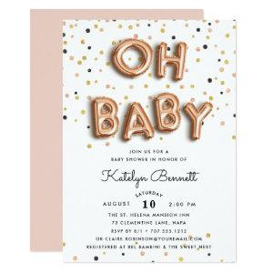 Oh Baby | Rose Gold Baby Shower Invitation