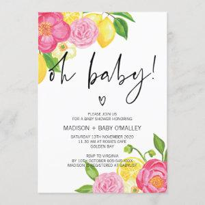 Oh Baby Shower Baby Girl Summer Floral Party Invitation