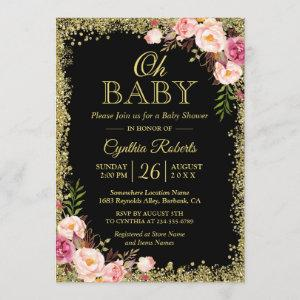 Oh Baby Shower - Black Gold Glitters Pink Floral Invitation