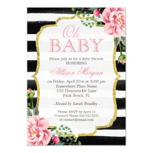 Oh Baby Shower Floral Gold Black White Stripes Invitation