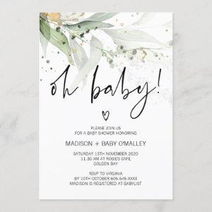 Oh Baby Shower Gender Neutral Baby Bash Greenery Invitation