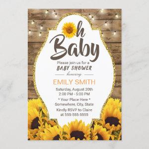 Oh Baby Shower Rustic Sunflowers & String Lights Invitation