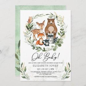 Oh Baby | Soft Greenery Woodland Forest Shower Invitation