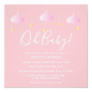 Oh Baby Twinkle Twinkle Pink Baby Shower Invitation