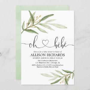 Oh bebe French greenery gold gender neutral shower