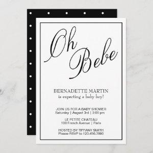 Oh Bebe Gender Neutral Black and White Baby Shower Invitation