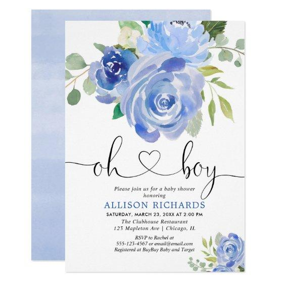 Oh Boy baby shower blue floral watercolors Invitation