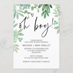 Oh Boy Baby Shower Party Greenery Succulents