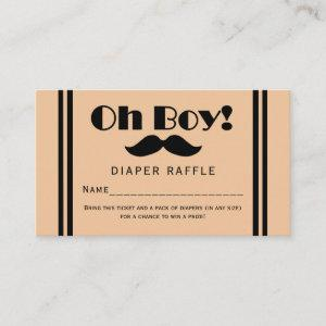 Oh Boy Black Mustache Baby Diaper Raffle Ticket Enclosure Card