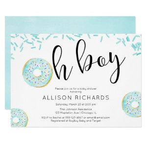 Oh boy Donut sprinkles baby shower blue Invitation