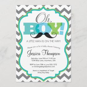 Oh Boy Mustache Baby Shower Invitation