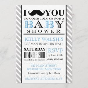 Oh Boy Mustache Baby Shower Invitations