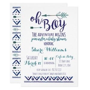 Oh Boy Tribal Baby Shower Invitation - TEAL CUSTOM